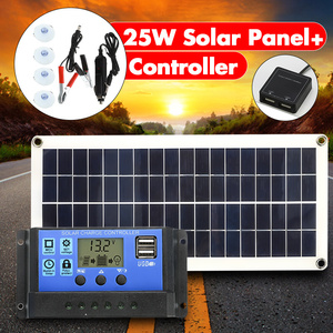 Image 1 - 12V 25W Dual USB Solar Panel with Car Charger Output 10/20/30/40/50A USB Solar Charger Controller for Outdoor LED Light Camping