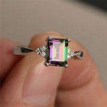 Silver Plated Square Zircon แหวนสำหรับ(China)