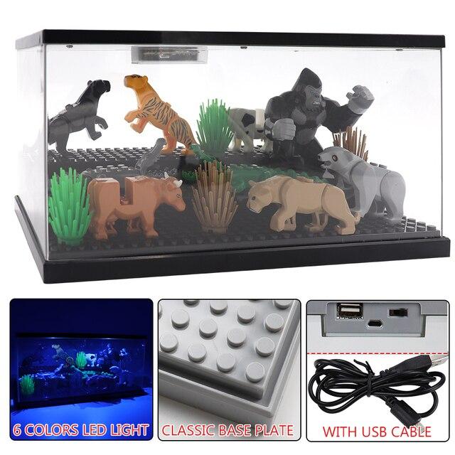 3 pasos del USB de la luz LED acrílico a prueba de polvo de figuras de acción de caja Juguetes de bloques de construcción para niños