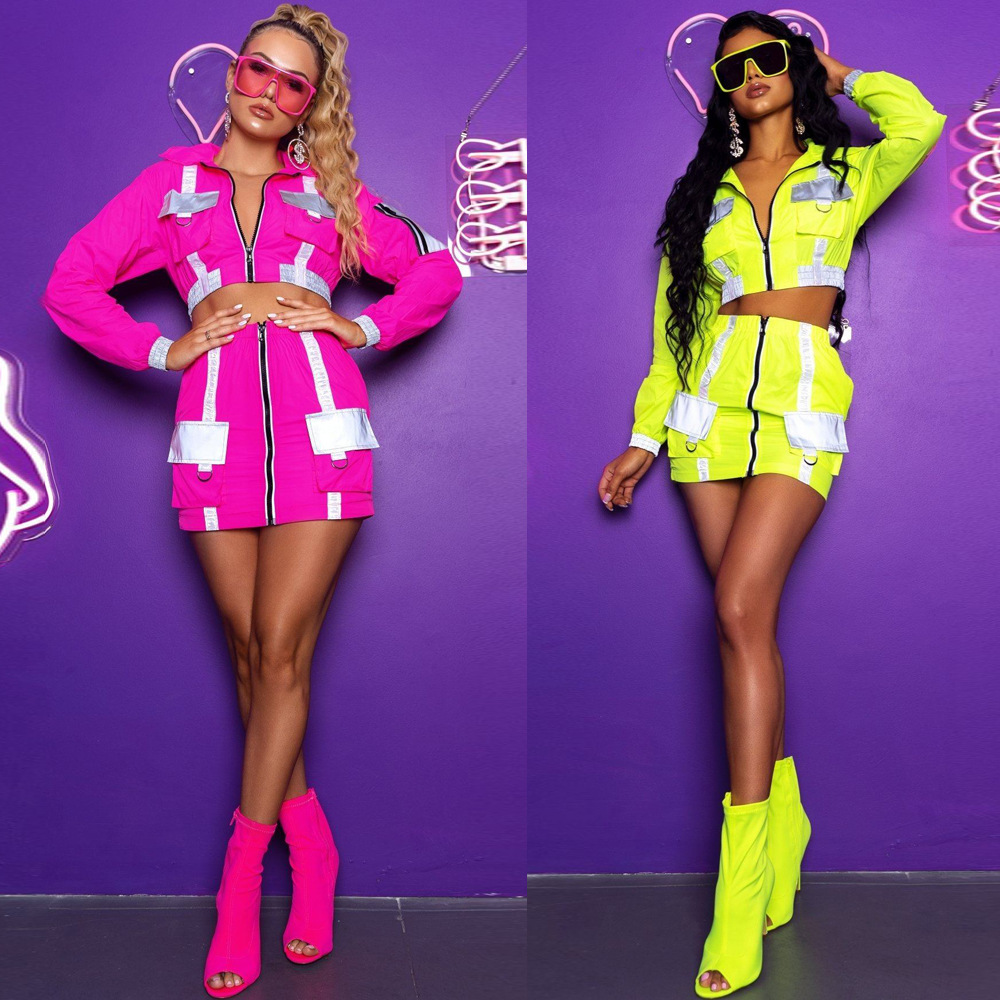 HAOYUAN Reflective Sexy 2 Piece Set Women Rave Festival Long Sleeve Crop Top And Mini Skirt Matching Sets Two Piece Club Outfits