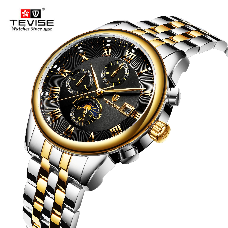 Montre mécanique automatique TEVISE pour homme calendrier complet en acier inoxydable marque haut de gamme Tourbillon d'affaires de luxe Relogio Masculino