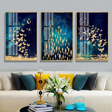Golden Butterfly Fish Bird Dance PosteNordic Style Wall Art Picture Canvas Poster Print Painting Abstract Picture Home Decor(China)