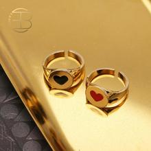 New Fashion Gold Color Black Red Dripping Heart Love Rings For Women Best Friend Adjustable Gold Finger Ring Birthday Gift