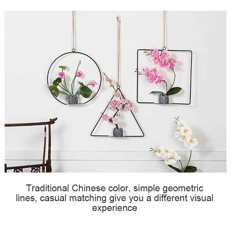 Geometris Logam Wire Wreath Hoop Frame Buatan Bunga Garland Wall Hanging Dekorasi Pesta Pernikahan Latar Belakang