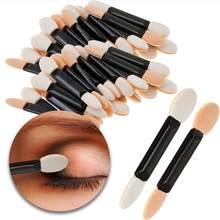 Brosses miniature pour application de maquillage, kit à double côtes, en éponge et plastique, pour yeux et visage, applicateur de fard à paupières et poudre, accessoires cosmétiques, jetable, 12 pièces,