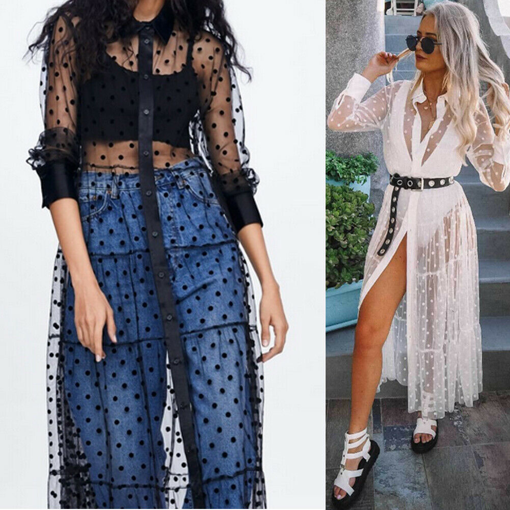Women Summer Boho Polka Dot Dress Evening Party Beach Cover-Ups Dresses Long Sleeve Loose Mesh Sheer Sundress Clothes