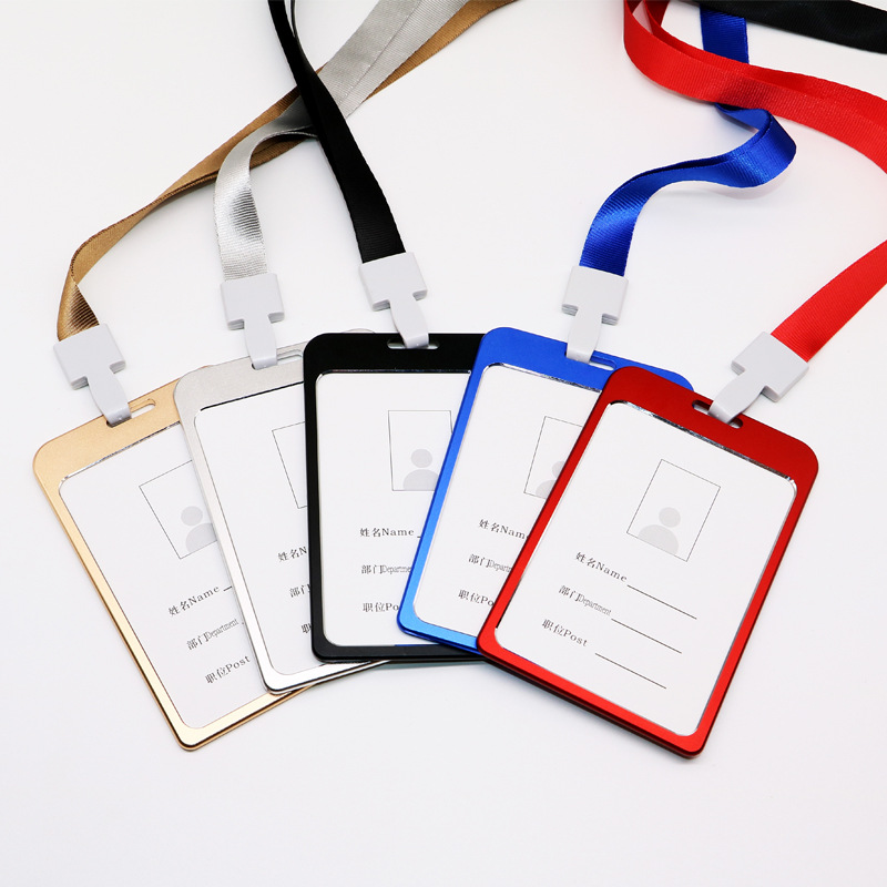 1PC Work Card Holders With Rope Aluminium Alloy Card Holder ID Card Cover