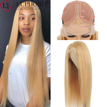 Brazilian Straight Human Hair 13x1 Wigs 100% Remy Human Hair #27 Blonde/Natural Color Lace Part Wigs 150% Density EUPHORIA