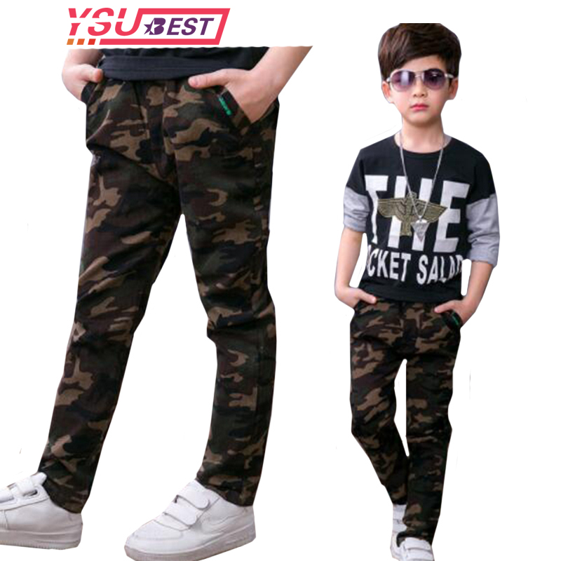 Kids Boys Pants 2020 Spring Children Boys Trousers Fashion cotton Camouflage Overalls Pants Patch Pocket Teen Cargo Pants 4-14Y