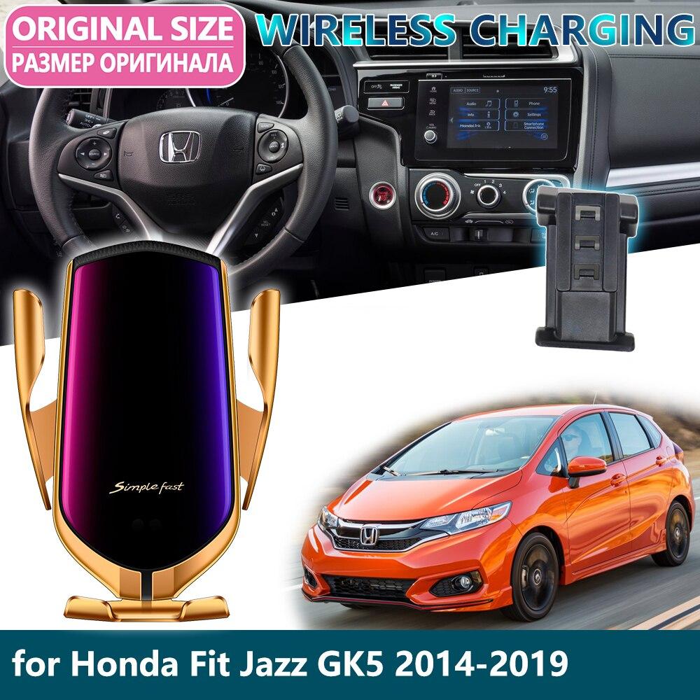 Car Mobile Phone Holder For Honda Fit Jazz GK5 2014~2019 2015 Gravity Sensor Wireless Charging Telephone Bracket Accessories