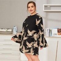 Vestido corto recto casual túnica manga ancha Tallas Plus 2