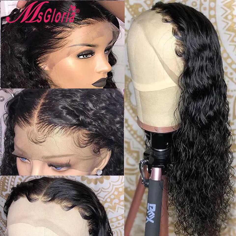 360 koronki przodu peruka naturalne brazylijski Remy peruka z lokami z wstępnie oskubane koronki przodu włosów ludzkich peruk dla kobiet bielone węzłów 150%