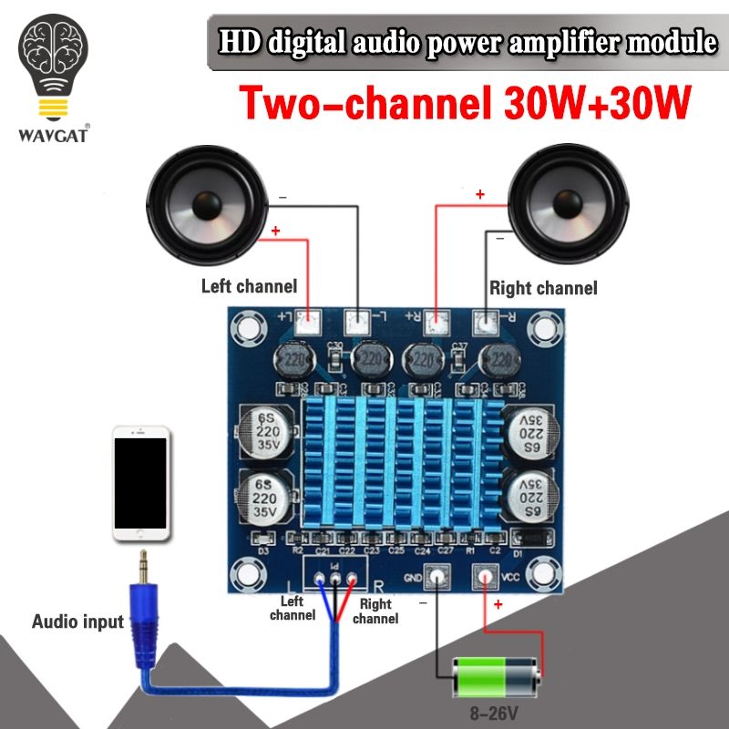 Official TPA3110 XH-A232 30W+30W 2.0 Channel Digital Stereo Audio Power Amplifier Board DC 8-26V 3A C6-001