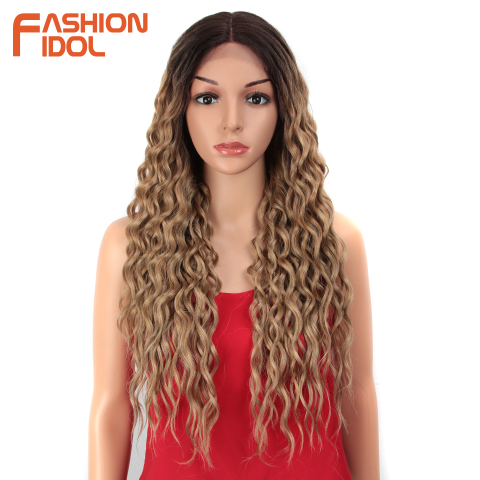 FASHION IDOL 28 Inch Hair Synthetic Lace Front Wigs For Black Women Soft Loose Wave Hair Ombre Brown Pink Heat Resistant Hair