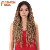 MODE IDOL 28 zoll Haar Synthetische Spitze Front Perücken Für Schwarze Frauen Weiche Lose Welle Haar Ombre Braun Rosa Wärme beständig Haar