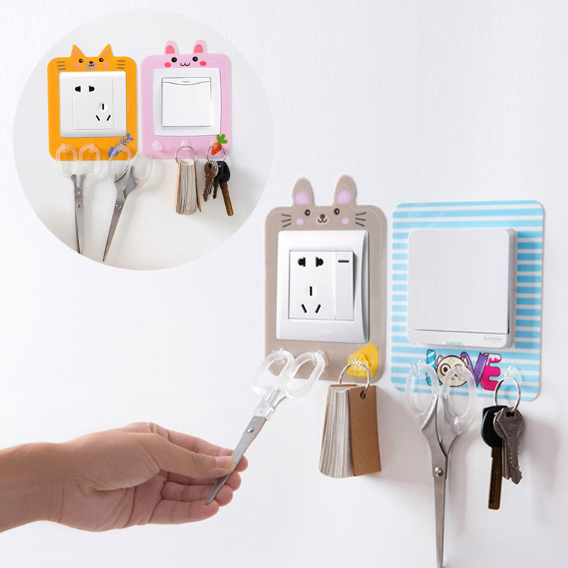 Socket Decors Home Decor Cartoon Cute Glowing Wall Stickers With Hooks Luminous Light Switch Outlet Wall Sticker