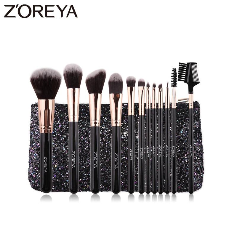 ZOREYA Delicate Makeup Brushes 8/12Pcs Super Soft Synthetic Hair Black Make Up Brush set Powder Lip Eye Shadow Cosmetic Tools