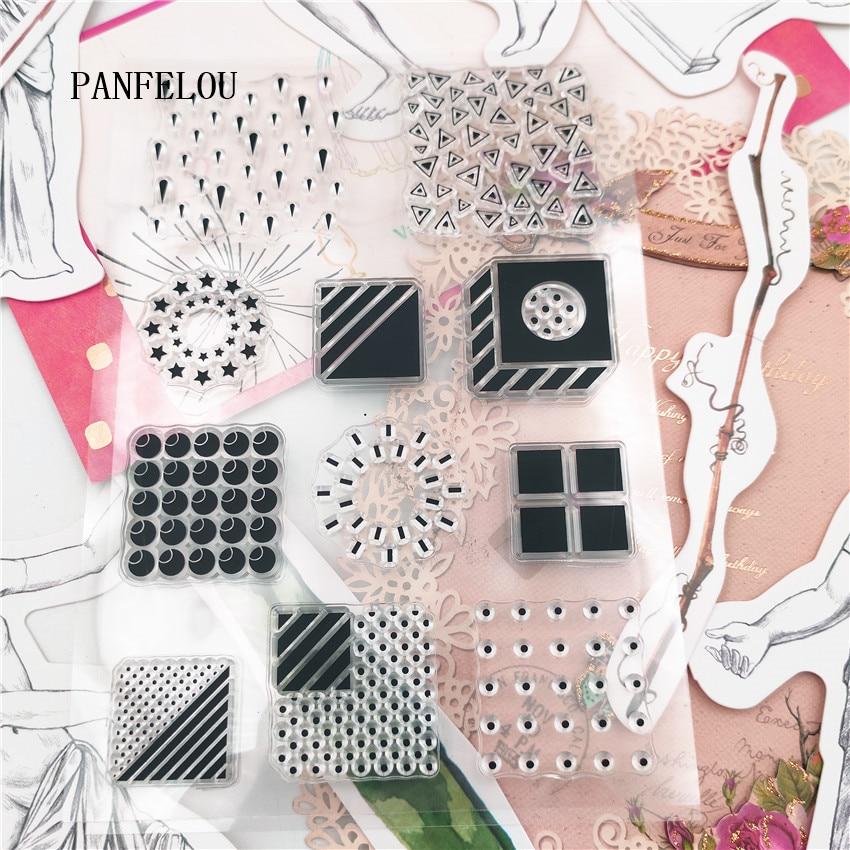PANFELOU 11*16cm Geometry square Transparent Silicone Rubber Clear Stamps cartoon Scrapbooking/DIY Christmas wedding album