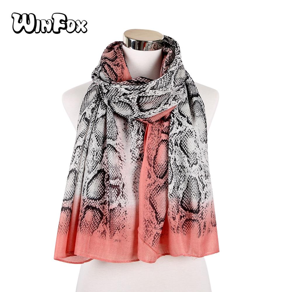 Winfox Fashion Snake Skin Scarfs Women Foulard Femme Hijab Scarf Beach Glitter Shawl Wraps