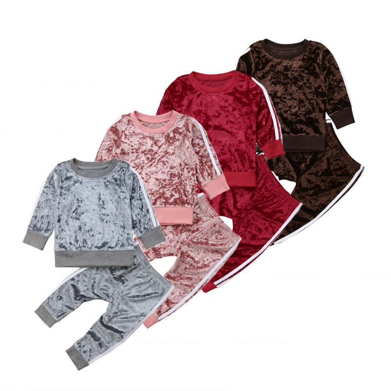 Autumn 2PCS Toddler Kids Velvet Sweatshirt Set Baby Girl Long Sleeve Top Pants Outfit Children Arrival Casual Soft Clothing 1-6T