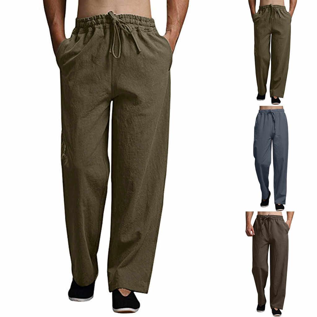 Mannen Zomer Mode Casual Katoenen Lange Broek Effen kleur Casual Broek Strand Pantalones Hombre GH50