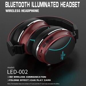 Image 4 - Беспроводная Bluetooth гарнитура LED 002, складные наушники, 3D стерео игровая гарнитура