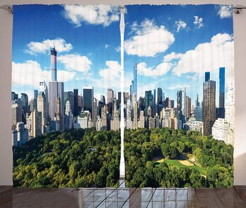 NYC Curtains Central Park View to Manhattan at Sunny Day Skyline with Clouds Crowded Cityscape Image Living Room Bedroom Window