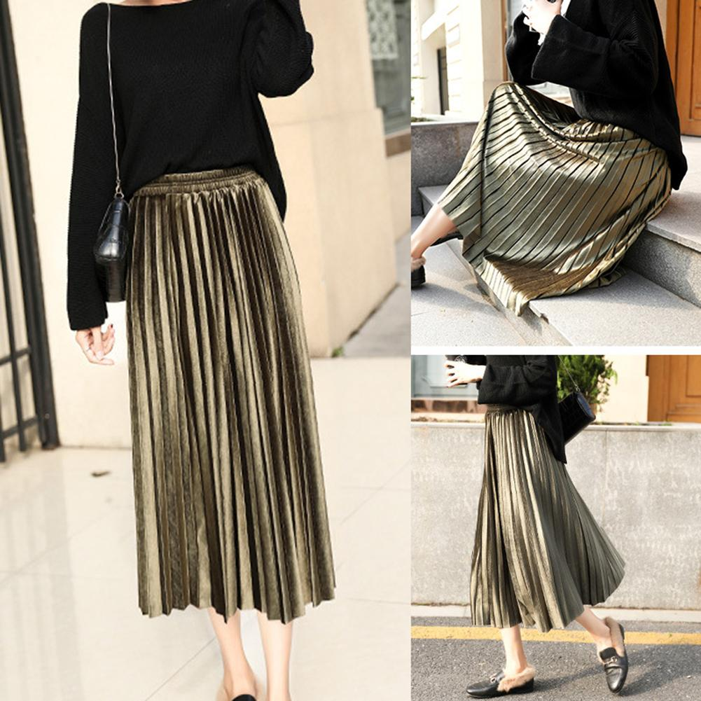 Pleated-Skirt Maxi Velvet Long Vintage High-Waist Winter Women Solid-Color Casual Ladies