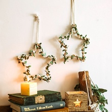 Wall-Ornament Star-Decor Hanging Living-Room-Decoration Nordic Handmade with Green-Leaf