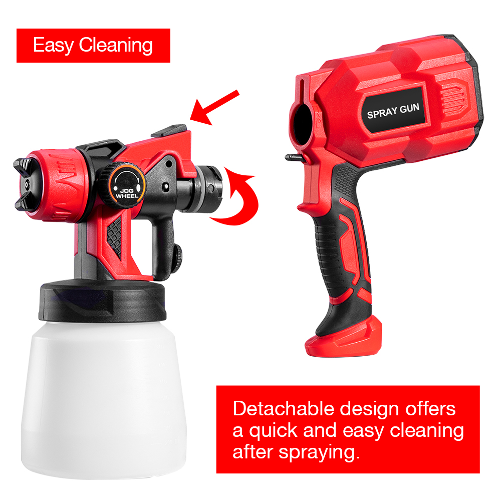 Tools : 1 8MM Nozzle Spray Gun 550W 220V 800ML Car Wall Painting High Power Spay Guns Home Electric Paint Sprayer Easy Cleaning