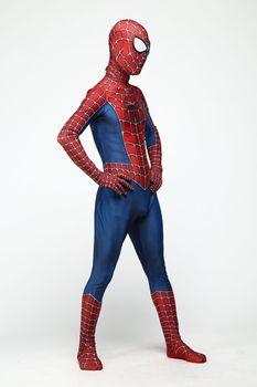 цена Kids Anime Spider Man Spiderman Costume Fancy Dress Adult And Children Halloween Costume Red Black Spandex 3d Cosplay Clothing онлайн в 2017 году