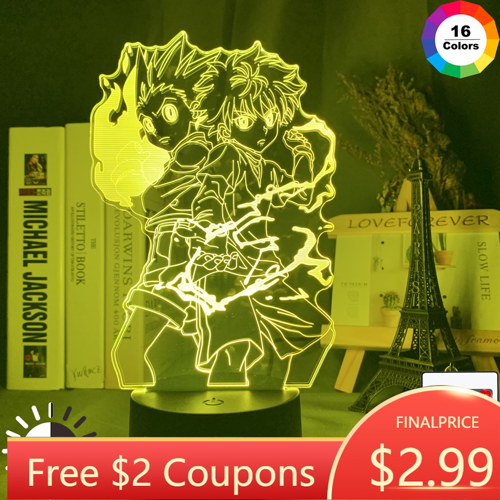 Gon And Killua Figure 3d Night Light Anime Hunter X Hunter Light For Kid Bedroom Decor Lighting Child Gift HxH Lamp Bedside
