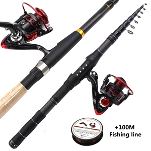 Image 5 - 1.8m 2.1m 2.4m 2.7m 3.0m Carbon Fiber Telescopic Fishing Rod Portable Spinning Rod and Spinning Reels Multifunction set