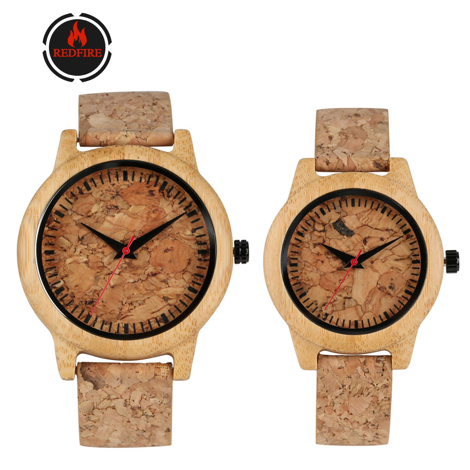 REDFIRE Corkwood Watches For Lovers Quartz Movement Cork + Leather Watch Bands Hot Fashion Men Women Wood Watch New Arrival