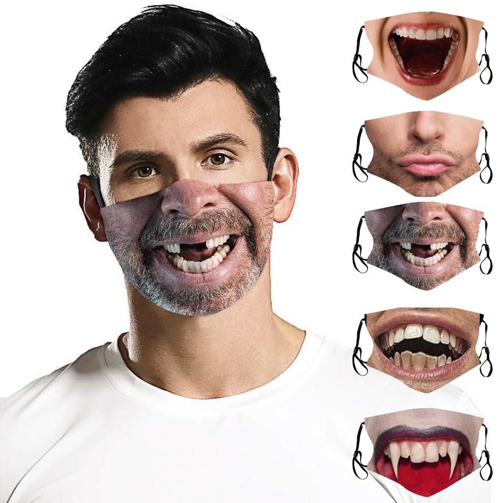 Для женщин и мужчин 3d забавная печать Маски со ртом для лица пыле загрязнения повторное использование защита для лица дышащий защитный рот ...