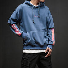 Men Hooded Plus size  patchwork Sweatshirts Mens striped hoodies Korean Style Students Pullovers