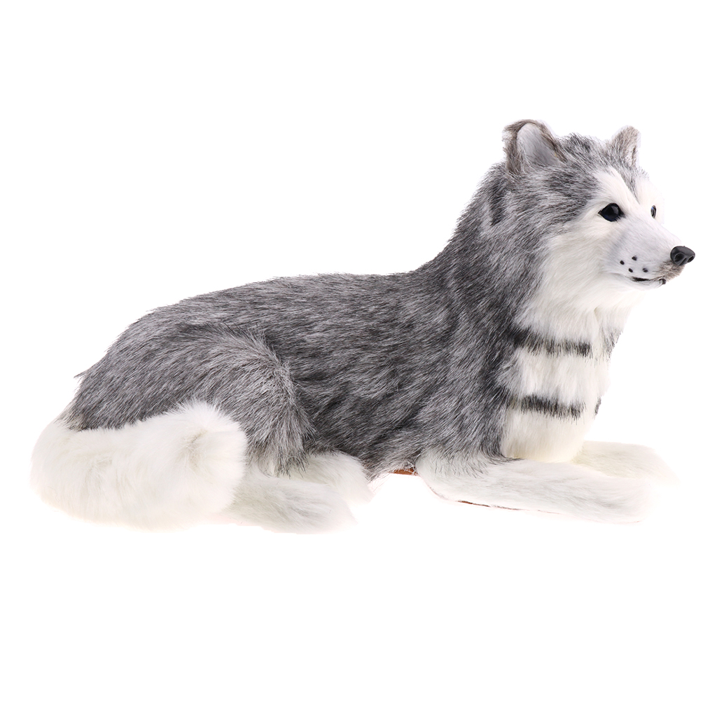 Lifelike Fur Lying Husky Animal Model Action Figure Toy Home Decoration