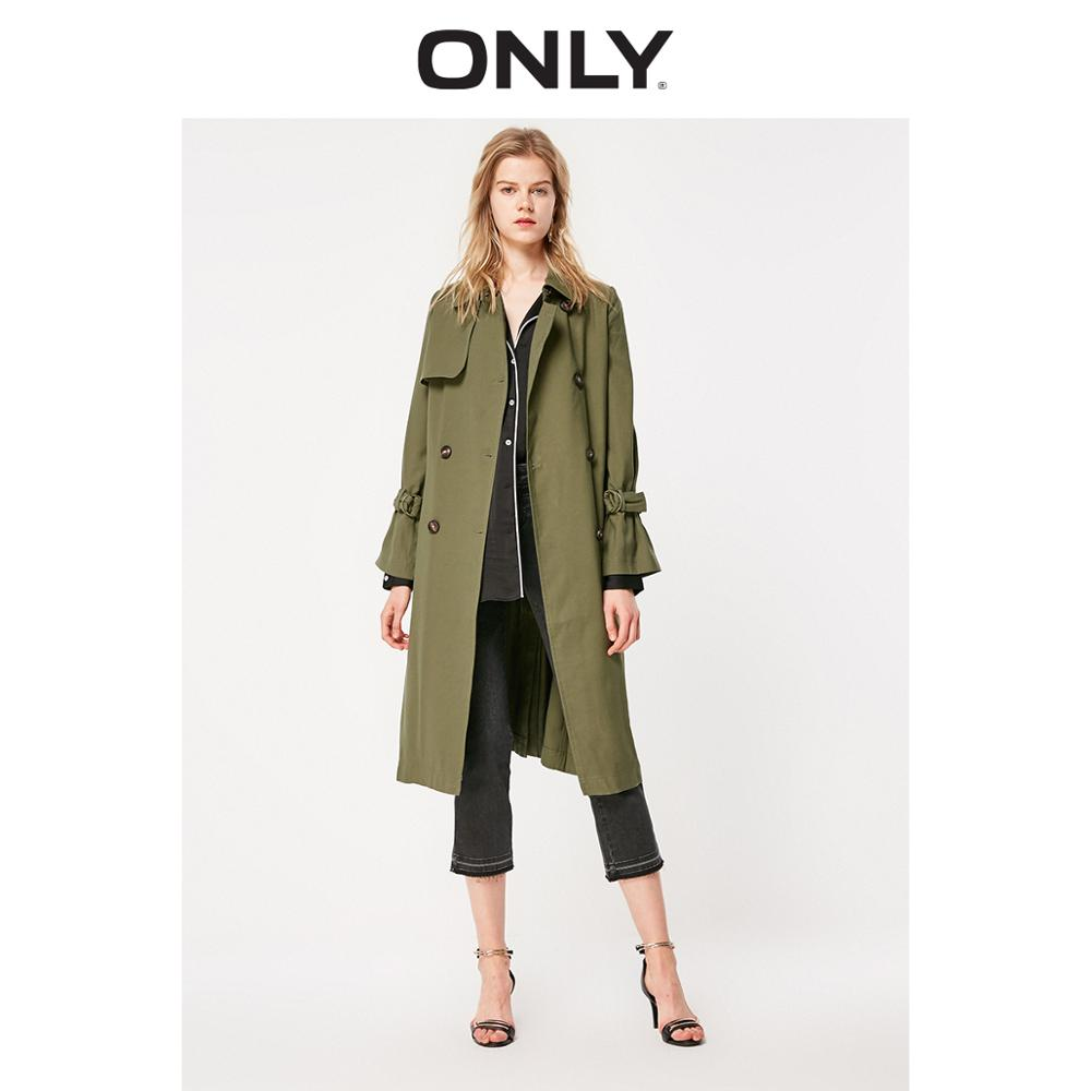 ONLY Women's Long Slim Fit Cinched Waist Thin Trench Coat | 119136541