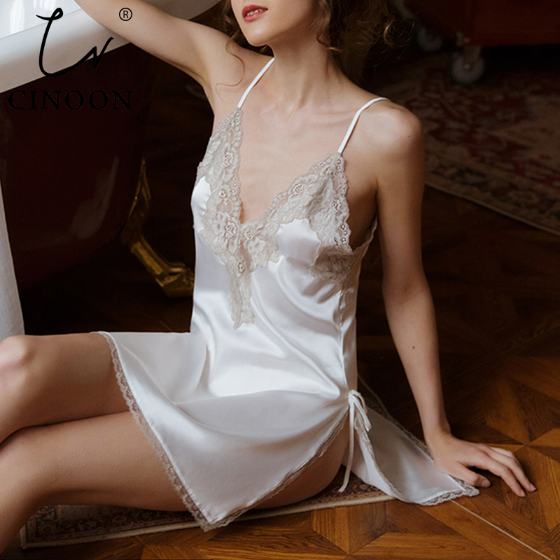 CINOON Sexy Nightdress For Women V-neck Sleeveless Pajamas Lace Silk Nightwear Strappy Sleepwear Comfortable Nightskirt Suit