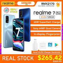 Realme 7 pro versão global 8gb ram 128gb rom 65w superdart carga 64mp quad câmera amoled in-display impressão digital