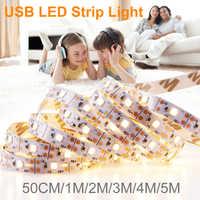 1M 2M 3M 4M 5M USB Cable de alimentación 220V LED Luz de tira de la lámpara SMD 2835 decoración de escritorio de Navidad lámpara cinta 5V iluminación de fondo de TV 110V