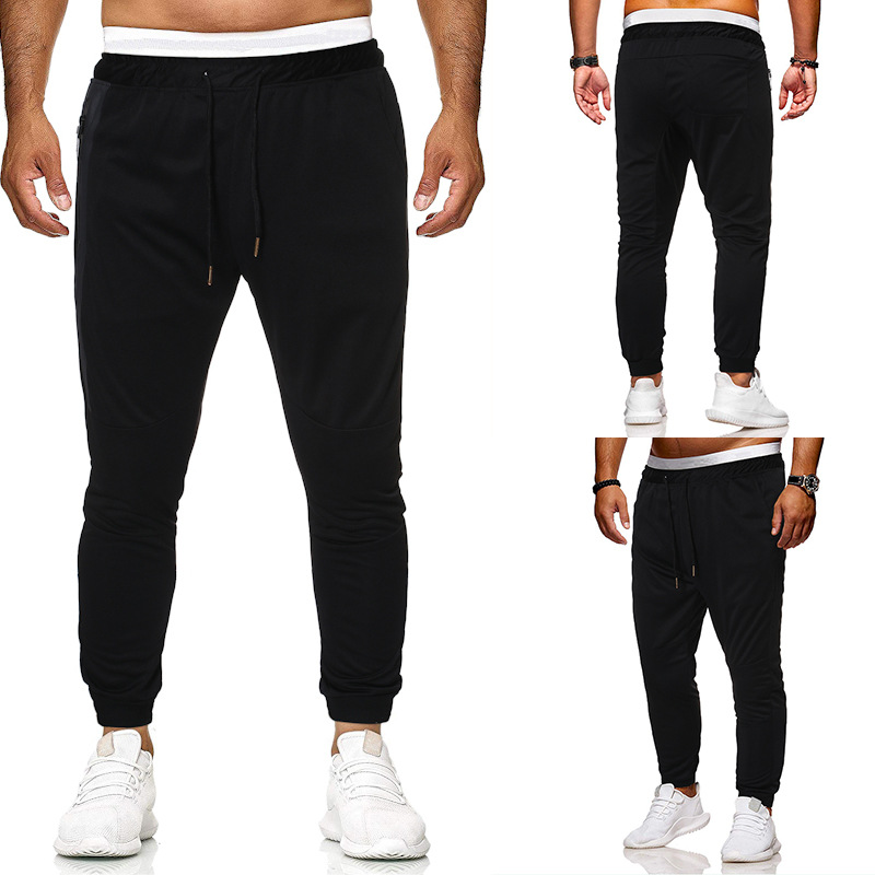 2019 Summer Hot Selling New Style Men Fashion Zipper Casual Sports Pants Large Size Solid Color Trousers Ankle Banded Pants