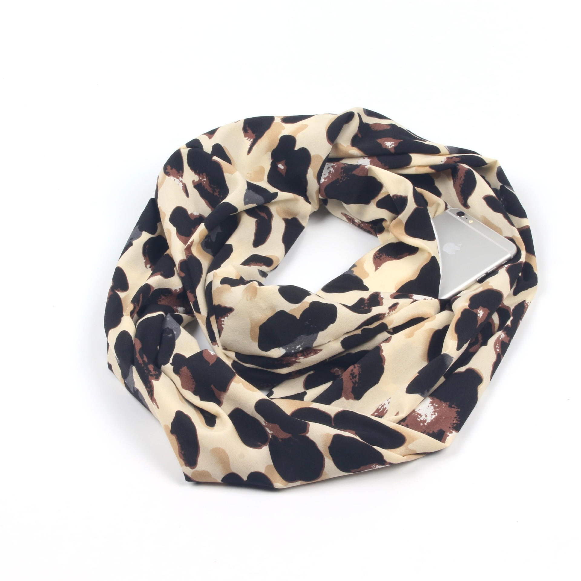 Foreign Trade Hot Sales Heart Leopord Pattern Scarf Storage Pocket Zipper Scarf Leopord Pattern Invisible Zipper Gift Scarf