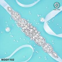 Rhinestone Bridal-Belt Wedding-Applique Wedding-Dress-Accessories Crystal Silver
