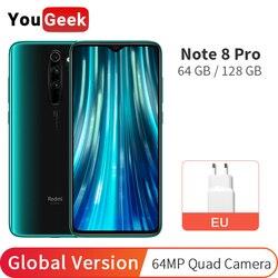 Versão global xiaomi redmi nota 8 pro 6 gb 128 gb/64 gb telefone móvel câmera nfc 64mp helio g90t octa núcleo 4500 mah 6.53