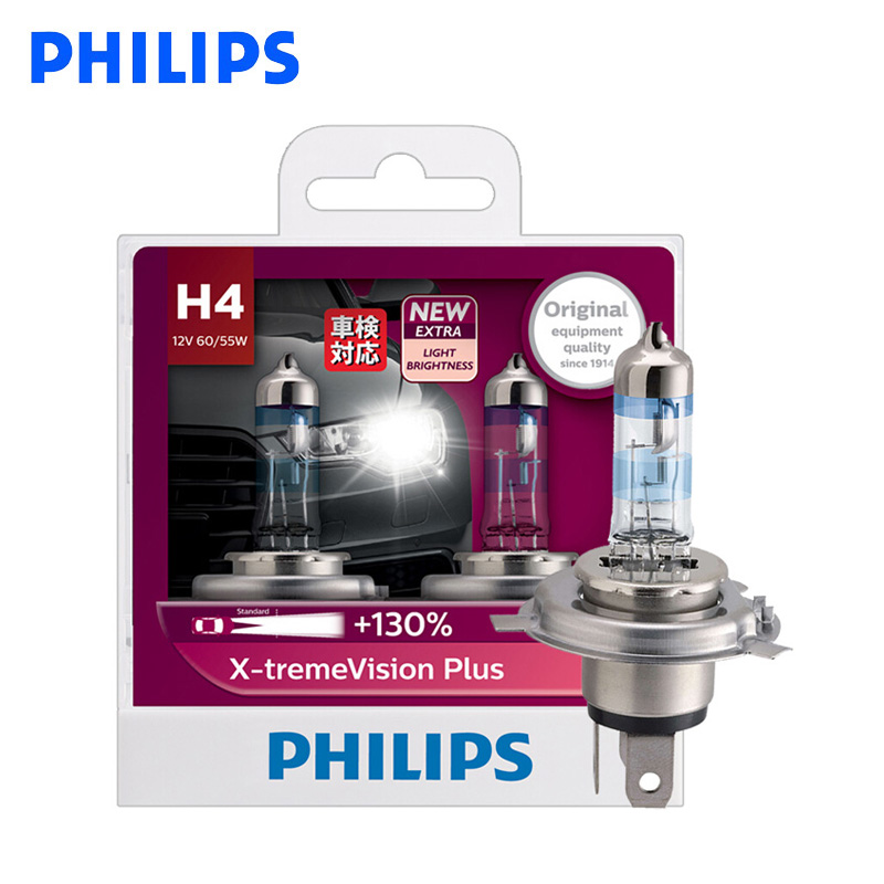 Philips H4 9003 X-treme Vision Plus 130% 12V 60/55W Auto Halogen Hi/lo Beam Car Bulb ECE Approve 130% Brighter 12342XVP S2, Pair