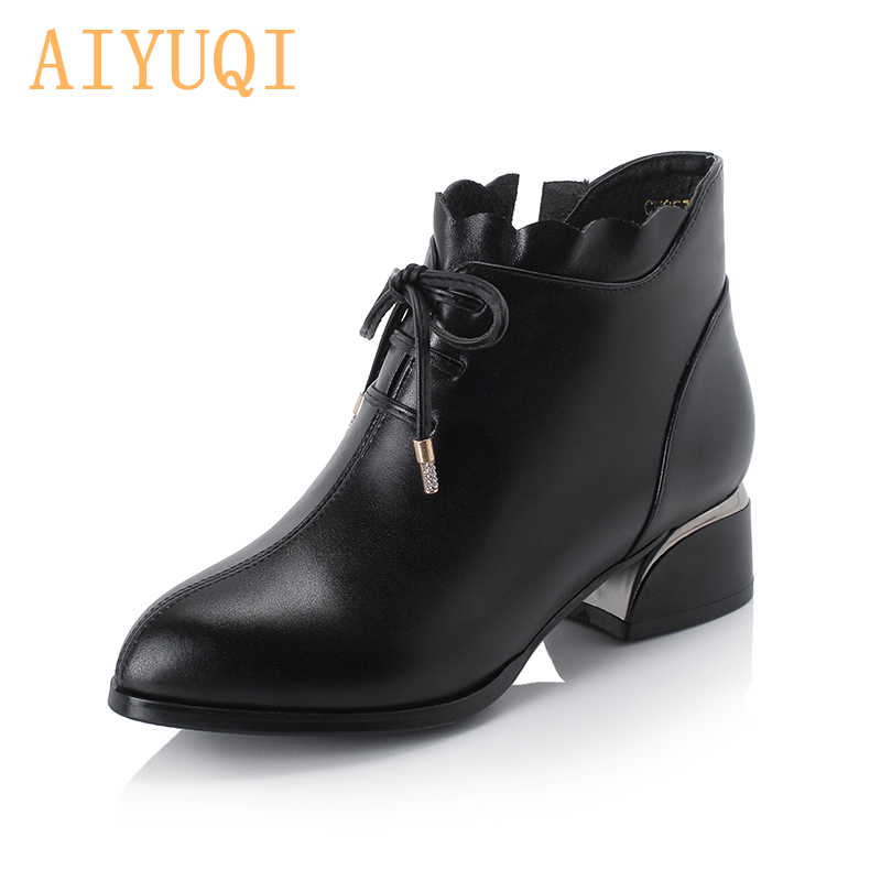 AIYUQI Fashion Women Shoes 2019 New Genuine Leather Women Large Size Shoes Lace-up Point Casual Shoes Women