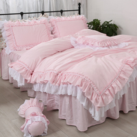 Amazing luxury bedding set pink queen size embroidery ruffle lace double duvet cover bedskirt princess Warm pillow case HM 17P