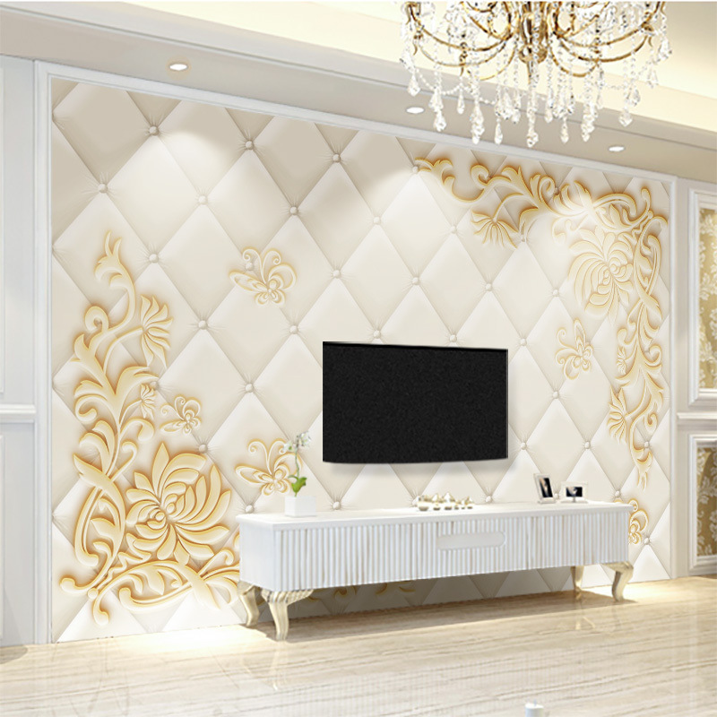 Beige European Soft Roll TV Backdrop Wallpaper Living Room 3D Wallpaper Bedroom Simple Modern 8D Wall Cloth 5D Stand