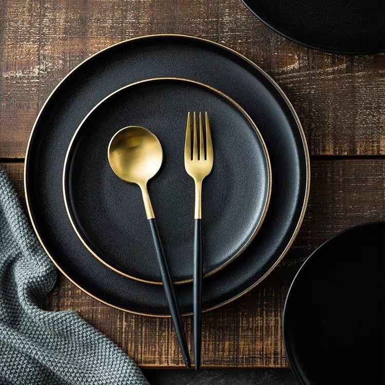 Керамическая тарелка из Пномпеня, тарелка для западного стейка, наборы тарелок и тарелок, черная матовая устойчивая к царапинам тарелка для фруктов с маятником|Блюдца и тарелки| | АлиЭкспресс
